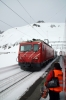 MGB HGe 4/4 II #3 arrives into Oberalppass with GEX910 0952 Zermatt - St Moritz Glacier Express, while HGe 4/4 II 103 waits to depart with the Glacier Express GEX903 0902 St Moritz - Zermatt