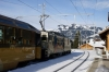 MOB GDe 4/4 6001 departs Gstaad with 3115 1025 Zweisimmen - Montreux Golden Pass Panoramic train