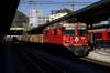 RhB Ge4/4 II #624 with a train of loaded logs at Chur
