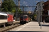 SBB Cargo Re4/4 11240 runs through Montreux as SBB Re460 460089 departs with IR1423 1453 Geneva Airport - Brig