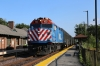 Metra F40PH 160 arrives into Main Street Evanston with 347 1721 Chicago Ogilvie Transportation Center - Winnetka