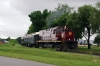 A&M Alco C420 #44 (#68 rear) does a photo run-by at Bentonville (Phyllis Street) with the 0800 Springdale - Bentonville - Springdale NRHS Convention Special