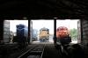 Illinois Railway Museum Diesel Days #3 – Barn #2 - (L-R) Baldwin DT 66-2000 Minneapolis Northfield & Southern #21, EMD SD40-2 Chicago & North Western #6847 & Alco RSD15 Green Bay & Western #2407