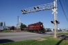 A&M Alco C424 #32 runs south over W. Robinson Avenue (Hwy 412) to shunt a customerjust south of the crossing