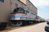 Amtrak Exhibition Train on display at the A&M Springdale Shops during the 2014 NRHS Convention; Cab Car #406 leads Amtrak GE P42DC #42 with the consist