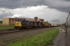 CSX train stands outside  Utica, NY, with GE CW40-8 #7345 & EMD SD60 #8707