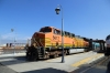 BNSF GE AC4400CW 5617 (with MPI MP36PH-3C #899 on the rear) wait at San Bernadino station to depart with 323 1135 San Bernadino - LA Union