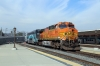 Metrolink EMD F59PHI #874 (with BNSF GE AC4400CW 5610 on the rear) departs LA Union with 155 1514 LA Union - Moorpark