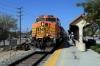 BNSF GE AC4400CW 5607 (with Metrolink EMD F59PH #873 on the rear) arrives into Sylmar/San Fernando with 214 1129 Via Princessa - LA Union