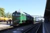 UZ 2M62-1076b/1247a wait to depart Ivano Frankivsk with 144L 1350 Voroktha - Kyip Pas.; UZ 2M62-1051a/b T&T 6434 1728 Ivano Frankivsk - Kolomiya in the adjacent platform