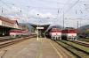 ZSSK 757001 (L) arrives into Vrutky with R341 0642 Ostrava Svinov - Banska Bystrica,  754004 (C) waits to depart Vrutky with Os7525 0919 Vrutky - Horna Stubna & ZSSK 754053 (R) stands alongside
